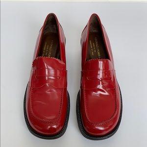 DONALD J PLINER Red Leather Platform Loafers